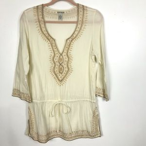 Lucky Brand Sz M Embroidered Hem Tunic Boho Top